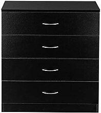 INFILM Commode à 4 tiroirs en bois moderne noir