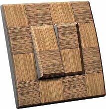 Interrupteur décoré Damier bois