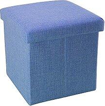 Intirilife Pouf Pliable 30x30x30 cm en Bleu MER