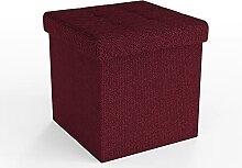 Intirilife Pouf Pliable 38x38x38cm en Rouge Cerise