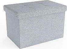 Intirilife Pouf Pliable 49x30x30 cm en Blanc comme
