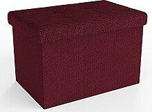 Intirilife Pouf Pliable 49x30x30 cm en Rouge