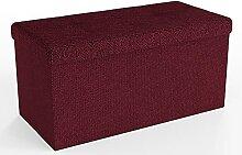 Intirilife Pouf Pliable 76x38x38 cm en Rouge