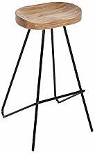 Iron Art Chaise de bar vintage en bois Tabouret de