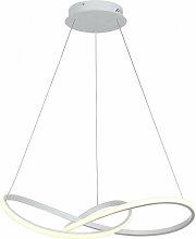 Italux - Suspension moderne Vita blanc, abat jour