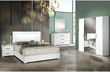 IZIA BLANCHE - Chambre 160x200cm + Armoire 4 Portes