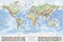 J.Bauer Karten Carte du Monde Physique, 120x80 cm,