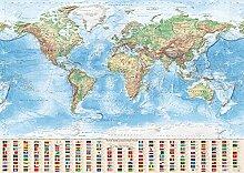 J.Bauer Karten Carte du Monde Physique, 140x100