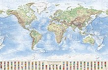 J.Bauer Karten Carte du Monde Physique, 220x144