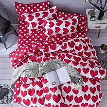 J – parure de lit motif coeur rouge et blanc,
