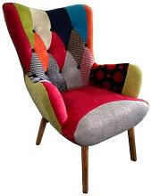JAVA - Fauteuil de salon en tissu patchwork