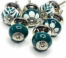 tiroir commode Jay Knopf 073GN/_SM Lot de 6 poign/ées de meuble perfor/ées en c/éramique et porcelaine peinte /à la main pour armoire
