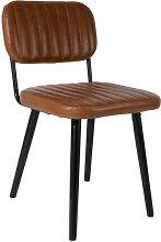 JEKA - Chaise aspect cuir marron
