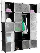 JEOBEST® 20-Cube Armoire de Chambre avec porte