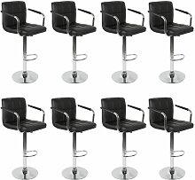 Jeobest - 8pcs Noir Tabourets de Bar Chaise