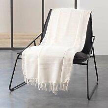 Jete de canape a franges 180 x 220 cm coton tisse