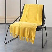 Jete de fauteuil a franges 150 x 150 cm coton