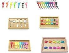 Jeu de clés de serrures Montessori colorées,