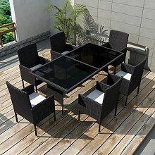 Jeu de mobilier de jardin 13 pcs Noir Resine