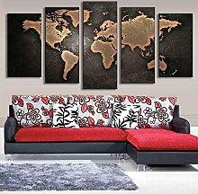 JHBJH 5 peintures sur Toile Carte du Monde rétro