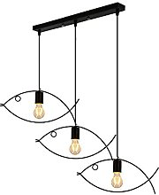 JHYPVII 3-Lampe Industrielle Métal Suspension