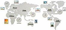 JIAJBG Horloge Grande Carte Du Monde Diy Horloge