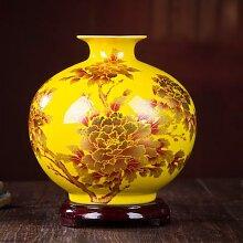 Jingdezhen – Vase à fleurs en cristal jaune