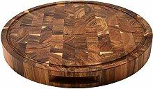 Jinking Planche à découper ronde en bois avec