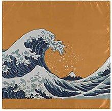 JIUCHUAN Serviettes Set Japon Giant Wave Art Motif