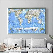 JMHomeDecor Carte du Monde HD Affiche Affiches Et