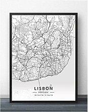 JMHomeDecor Lisbonne New York À La Main Carte du