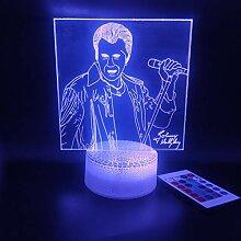Johnny Hallyday 3D Veilleuses pour Enfants, Lampe