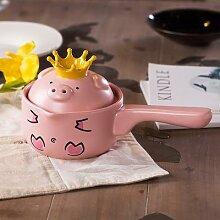 Jolie casserole de cochon rose dessin animé, pot