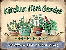 JSBFR Kitchen Herb Garden Rétro Métal Sign