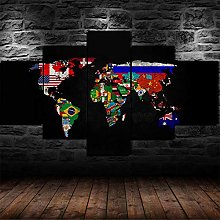 JUHAO 5 Pièces Toile Peinture Murale XXL Moderne
