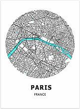 JWJQTLD Impression sur Toile Carte du Monde Carte