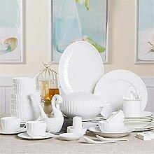 JXH Ensemble de vaisselle en céramique avec 56
