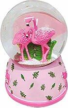 JYDQM Flocon de neige rose boule de cristal boîte