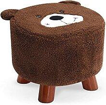 JYHJ Tabourets de canapé en bois massif avec ours