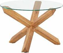 JYSK Table basse SASKIA Ø60 verre/chêne