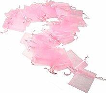 JZK 50 x Sachet Organza Rose 7 * 9cm Pochettes