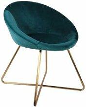 Kaena - fauteuil velours bleu et piétement doré