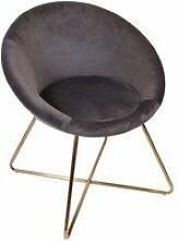 Kaena - fauteuil velours gris et piétement doré