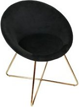 Kaena - fauteuil velours noir et piétement doré