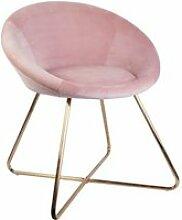Kaena - fauteuil velours rose et piétement doré