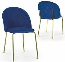 Karinne - lot de 2 chaises en velours bleu