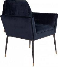 KATE - Fauteuil de table en velours bleu