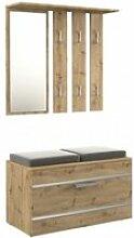 Kathi - meuble d'entrée miroir + banc|