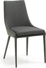 Kave Home - Chaise Davi en textile enduit gris