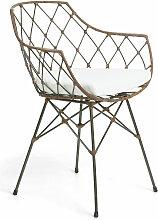 Kave Home - Chaise Endora acier et rotin